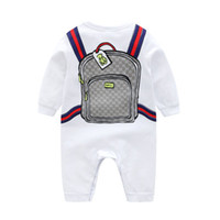 Wholesale boys long clothes resale online - Baby Romper INS Infant girl boy climbing cotton long sleeve cartoon schoolbag print romper kids designer casual romper Clothing