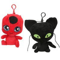 porte-clés bien achat en gros de-15cm / 6 pouces NOUVEAU coccinelle et chat noir jouets en peluche dessin animé peluches poupée douce bonne qualité porte-clés pendentif C6357