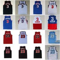 rote schwarze trikots großhandel-College 23 Michael Jersey Basketball Allen 3 Iverson North Carolina Vintage-Trikots Team Away Schwarz Blau Weiß Rot