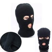 mascara negra magica al por mayor-Envío gratis mágico de las mujeres del invierno de los hombres caliente negro de la cara completa cubierta de tres agujeros Beanie Hat Cap Wholesale Cool accesorio
