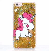 Wholesale unicorn glitter phone case online – custom Magic Liquid Quicksand Unicorn Horse TPU PC Case For IPhone X XS MAX XR S Plus Dynamic Flowing Bling Glitter Phone Skin Cover