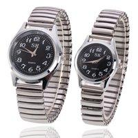 relógio redondo relógio digital venda por atacado-Relógio de casal de quartzo digital de negócios unisex branco redondo rosto preto de vidro