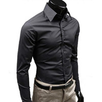 33317d2c 2019 new Mens Stylish Casual Solid Color Slim Fit Dress Shirt Long Sleeve  Business Top male clothes