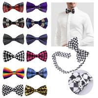 männer s gestreiften smoking großhandel-Einstellbare Herren Fliege Plaid Polka Dots Striped Pre-Tuxedo Butterfly Bowtie formale Krawatten Hochzeit Party Zubehör