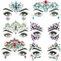 лицевые камни оптовых-1PC Christmas DIY Eyebrow Face Body Art Adhesive Crystal Glitter Jewels Festival Party Eye Tattoo Stickers  Xmas Decor