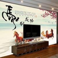 papel de carta grande venda por atacado-Personalizado chinês grande mural papel de parede sala de estar quarto escritório parede Desenhe um cavalo para o sucesso gráfico papel de parede