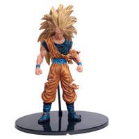 ingrosso pvc giapponese-21Cm Anime giapponesi Dragon Ball Z Battle Damage Ver Super Saiyan 3Son Goku Gohan Vegeta Action Figure Giocattolo modello in pvc