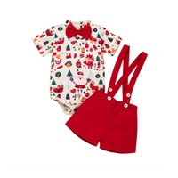 Wholesale sets for newborn for sale - Group buy 0 M Baby Boys Christmas Clothes Set Cute Deer Print Bow Tie Bodysuit For Newborns Red Overalls Outfits Baby Boys Xmas Clothes