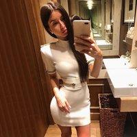 zarif seksi üniforma elbise toptan satış-Adyce 2019 Yeni Yaz Bandaj Elbise Kadınlar Zarif Ünlü Akşam Parti Elbise Vestido Seksi Kısa Kollu Beyaz Mini Kulübü