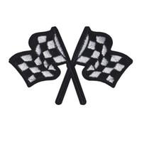 ingrosso bandiere per ricami di ferro-Ricamato Patch Bandiere auto da corsa cucire ferro sul ricamo Patch distintivi per borsa Jeans cappello T shirt Appliques fai da te decorazione artigianale