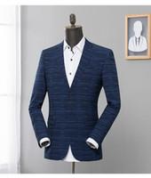 terno de negócio de uma peça venda por atacado-Jaqueta xadrez azul escuro moda masculina Plus-size M-3XL uma peça negócios magro pequeno terno masculino Top