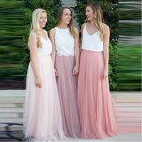 tulle röcke verkauf größen großhandel-3 Frauen Schichten Spitze Maxi Langen Rock Tüll Rock Brautjungfer Ball Röcke Plus Größe frauen Röcke Heißer Verkauf
