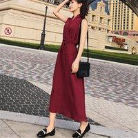koreanische spitze chiffon- kleid beiläufig großhandel-Koreanische Sommerkleid Frauen beiläufige 2019 neue dünne Chiffon- Sleeveless V-Ansatz Kleid-Büro-Damen schnüren sich oben Vestidos f602