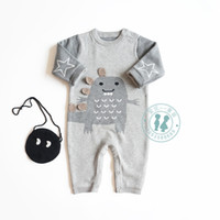 Wholesale knitted dinosaur resale online - Spring baby Boy clothes Romper Long Sleeve Dinosaur Knitted Romper Warm Thick Baby Clothing Romper cotton