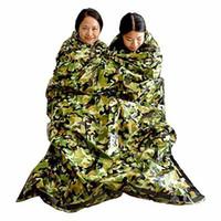 erste-hilfe-taschen großhandel-Camouflage Survival Notschlafsack Warmhalten Wasserdicht Mylar Erste Hilfe Notfalldecke Outdoor Camping LJJM1884