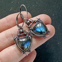 Wholesale vintage ethnic tribal jewelry resale online - Vintage Triangle Blue Resin Stone Drop Earrings for Women Ethnic Tribal Geometric Hanging Dangle Earrings Retro Jewelry Z3D413