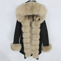 Wholesale green gold dogs resale online - OFTBUY Waterproof Parka Real Fur Coat Winter Jacket Women Natural Raccoon Fur Collar Hood Real Rabbit Fur Liner Detachable