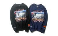 jerseys altos al por mayor-Sudaderas con capucha para hombre de High Street Kanye HERON PRESTON Crane corona roja O-cuello jerseys Tops