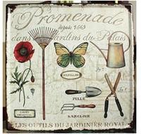 ingrosso giardino segno-30x30cm Garden Flower Home Decor Targa in metallo per la decorazione della parete in metallo Registrati Vintage Art Poster Retro Plaque \ Plate
