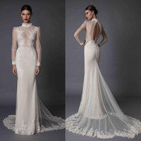 Wholesale sexy backless fishtail wedding dresses resale online - 2020 Betra Mermaid Wedding Dresses Long Sleeves Lace Appliques High Neck Beads Hollow Back Illusion Fishtail Bridal Gowns