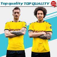 gelbe shorts großhandel-2020 # 11 REUS home gelb Fußball Trikots 19/20 # 7 SANCHO # 9 PACO ALCACER Fußball Shirts Kurzarm Fußball Uniformen zum Verkauf