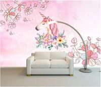 tapete für wände rosa großhandel-3d wallpaper benutzerdefinierte fototapete an der wand Teenager träumen rosa einhorn hintergrund wand wohnkultur wohnzimmer wallpaper für wände 3 d