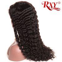 perucas de renda venda por atacado-Malaio Curly Lace Wig Onda Profunda 360 Full Lace Perucas de Cabelo Humano Com o Cabelo Do Bebê Preço de Fábrica Por Atacado 360 Lace Wigs Onda Profunda
