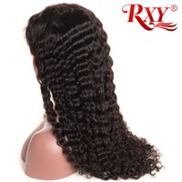 Wholesale 18 curly human hair resale online - Malaysian Curly Lace Wig Deep Wave Full Lace Human Hair Wigs With Baby Hair Factory Price Lace Wigs Deep Wave