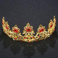 ingrosso pietre rosse delle corone nuziali-Più nuovo Red Stone Gold Color Diademi e corone Gioielli da sposa classica Tiara da sposa classica Accessori per capelli da sposa