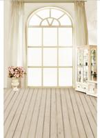 ingrosso tende bianche fiori rosa-5x7FT Antique White Curtain Window Pink Flowers Pot Cabinet Scrivania Personalizzata Photo Studio Fondali Sfondi Vinile 220cm x 150cm