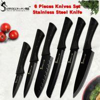 sharp knives kitchen al por mayor-Juego de cuchillos de cocina de acero inoxidable negro Sowoll Fashion Germany Steel Cuchilla de cocina ultra afilada Cuchillos de cocina 7Cr17 6 PCS