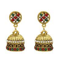 indisches bollywood großhandel-Königliche Bling Bollywood-Art-Ohrringe Partei-Abnutzungs Traditionelle indische Ohrschmuck Jhumka Ohrringe für Frauen