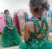 vestido de bola verde para crianças venda por atacado-Bonito Verde Esmeralda Meninas Pageant Vestido Princesa Inchado Saia Crianças Criança Partido Prom Ball Gown Curto Bonito Para O Miúdo