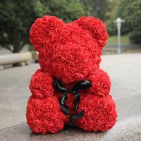 flores artificiais do dia dos namorados venda por atacado-Rosa vermelha urso 40 cm urso de pelúcia flores de espuma artificial caixa de presente para o dia dos namorados presente decoração de casamento dropshipping