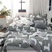 Wholesale leopard bedding set sheets resale online - 2020 Autumn grey star bedding set Pastoral style duvet cover set flat sheet fish bed linen leopard bed set AB side home textile