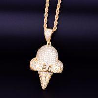 cadeia em forma de venda por atacado-Forma de sorvete de ouro colar de pingente de corda cadeia de zircônia cúbica Hip hop dos homens Street Rock jóias 2x1.1 polegada