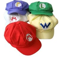 аниме герой аксессуар оптовых-Новая мода восьмиугольная шляпа аниме персонаж стиль шляпа милая красивая Super Mario Bros косплей шляпы многоцветный мультфильм аксессуары T7I5052
