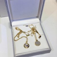 925 colar de estrelas de lua de prata venda por atacado-Designer RHSE SELESTE Colar de Jóias 925 Estrela de Prata Lua Estrela Em Branco Mãe Escudo de ouro Colar de Jóias Femininas