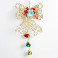 лук домашнего декора оптовых-Gold  Christmas Bowknot with Bell for Xmas Christmas Tree Door Bow Decor Xmas Party Holiday Ornaments Home Decor