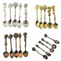 Wholesale bronze setting resale online - 5pcs set Retro Soup Spoon European Style Engraving Pattern Bronze Gold Silver Spoon Luxury Cutlery Set Stainless steel spoon WWA111