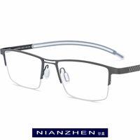 auge randlose titanrahmen großhandel-Pure titanium brillengestell männer platz myopie optische rahmen brillen für männer ultraleichte halb halbrandlose brillen