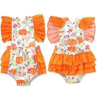 Wholesale little pumpkin baby clothes resale online - Newborn Baby Cartoon Romper Halloween Pumpkin Little Floral romper Infant Girls Designer Clothes Baby Girls Ruffle Backless Bodysuit M286