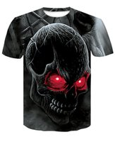 Wholesale 3d skull head shirt for sale – custom 3D Black and White Skull T shirt Various Printed Skull head Men Short Sleeve Shirt Creative T shirt Digital Printing No Peeling