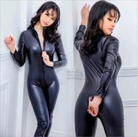 spandex clubwear elbiseleri toptan satış-Seksi Bodysuits Siyah Kadın Sahte Deri Islak bak PVC Catsuit Bayanlar Kız Fantezi Elbise Jumpsuit Egzotik Clubwear