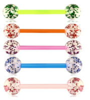 Wholesale cartilage barbells resale online - Flexible Acrylic UV Tongue Ring Nipple Barbell Ear Bar Piercing Cartilage Earring Body Jewelry G for Woman