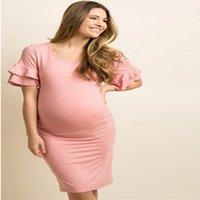 mulheres freeshipping da roupa venda por atacado-Plus Size S-XL Mulheres grávidas Off-ombro vestido de babados Casual Gravidez Maternidade Vestidos Mãe Vestuário Vestidos Freeshipping