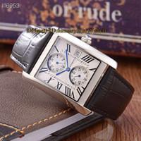 24 zifferblattuhr großhandel-Luxry New TANK 42mm Weißes Zifferblatt Datum 24 Stunden Anzeige Automatische Mechanische Herrenuhr Rechteck Stahl Fall Lederband Hochwertige Uhren