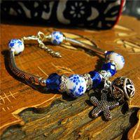 Wholesale chinese porcelain bracelet for sale - Group buy Handmade Ethnic Vintage Silver Bracelets Chinese Style Ceramics Beads Charm Bangle Leaf Pendants Female Personality Jewelry