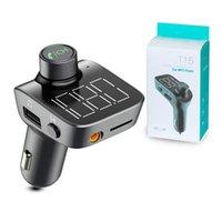 мобильный телефон hands-free автомобильный комплект оптовых-Автомобильный комплект T15 FM-передатчики Bluetooth V5.0 Aux модулятор сотовый телефон зарядные устройства беспроводной громкой телефон Аудио MP3-плеер с 2 USB зарядное устройство
