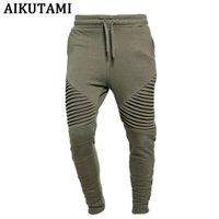 leggings verdes para homens venda por atacado-Jogging Calças Dos Homens 100% Algodão Leggings Ginásio Calças De Corrida Do Exército Verde Solto Mens Calças de Treinamento de Fitness Em Execução Homem